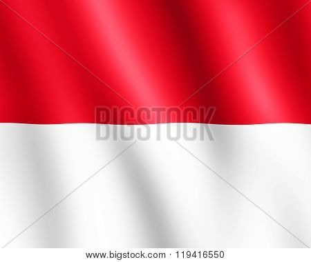Flag Of Monaco Waving In The Wind
