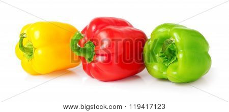colored sweet peppers on a white background