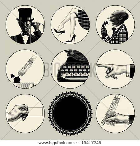 Set of round images in vintage engraving style with body parts and accessories. Retro business concept.