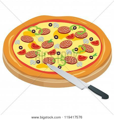 Italy Pizza on the chalkboard with the ingredients and knife isolated on write background. Appetizin