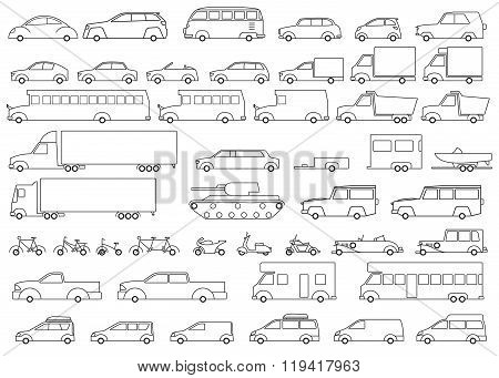 Car icons set. Linear style. Vector illustration.