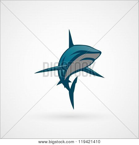 Shark Blue Logo Sign Vector Illustration Isolated