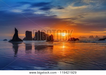 Sunset at Bandon Beach