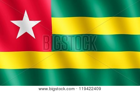 Flag Of Togo Waving In The Wind