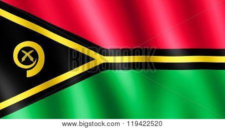 Flag Of Vanuatu Waving In The Wind