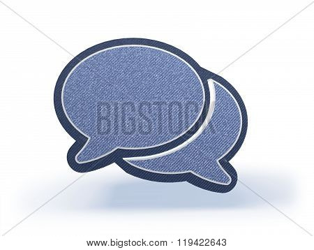 Dialogue Balloons Shopping Icon In Blueish Denim Look