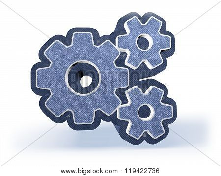 Gear Wheels Shopping Icon In Blueish Denim Look