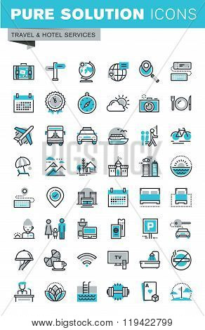 Modern thin line flat design icons set of travel and tourism signs and objects