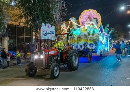 New Orleans, La/usa - Circa February 2016: Krewe Of Proteus In Parade During Mardi Gras In New Orlea
