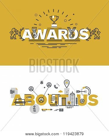 Set of modern vector illustration concepts of words awards and about us