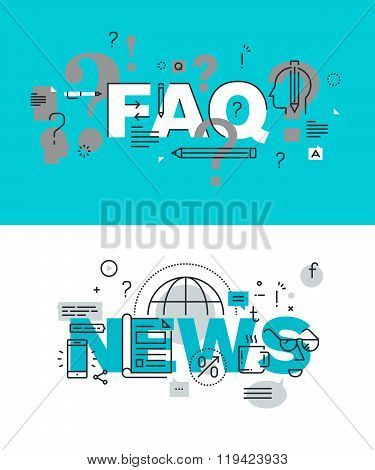 Set of modern vector illustration concepts of words FAQ and news