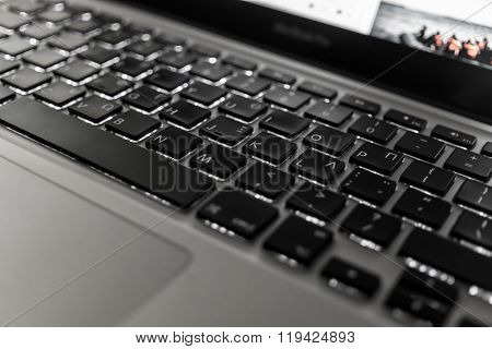 Laptop Keyboard close up with backlight