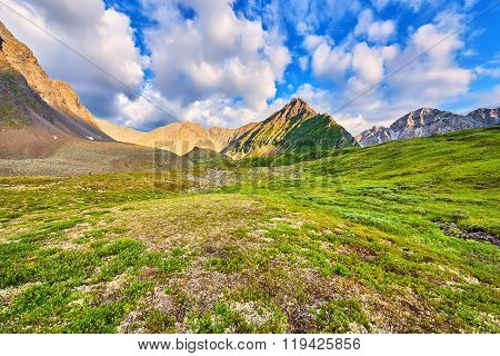 Beautiful Clouds Over Mountain Tundra