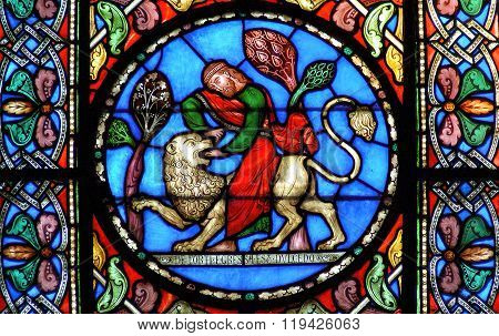 Stained Glass Window Samson Slaying The Lion