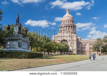 Austin, Tx/usa - Circa February 2016: Texas State Capitol With Confederate Soldiers Monument In Aust