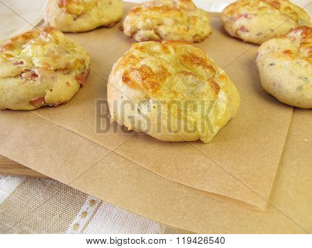 Home baked ham and cheese rolls