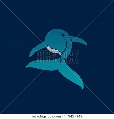 Blue Whale Floating Away Logo Sign On Dark Background Vector Illustration