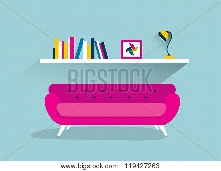 Retro Sofa And Book Shelf With Lamp.