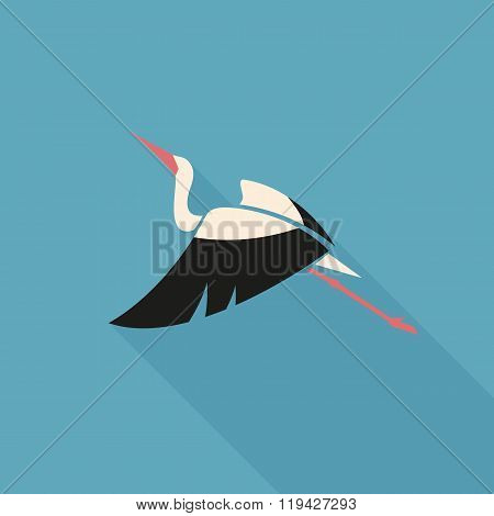 Flying White Stork With Black Wing Logo Sign On Blue Background