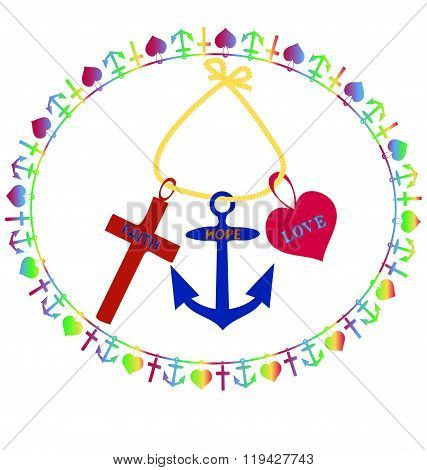 T-shirt Printing design, vector illustration, Cross, Anchor and Heart, symbols of Faith, Hope and Lo