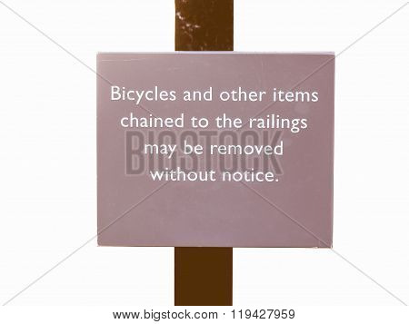 Bycicles Sign Vintage