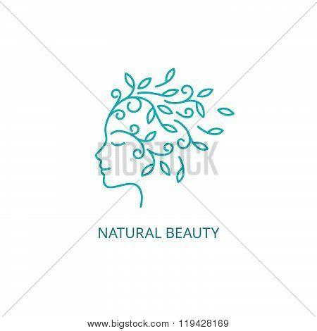 Vector Female Face Logo in Linear Style