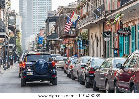 New Orleans, La/usa - Circa March 2009: Streets Of French Quarter Decorated For Mardi Gras In New Or