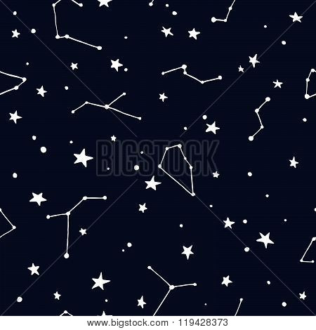 Night Sky with Stars and Constellation