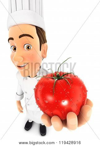 3d head chef holding a fresh tomato