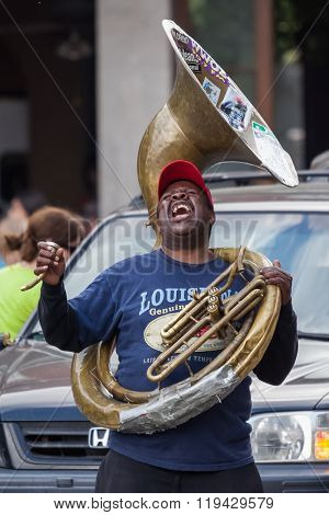 New Orleans, La/usa - Circa March 2009: African-american Musician Enjoys Playing Music On Tube At Ja