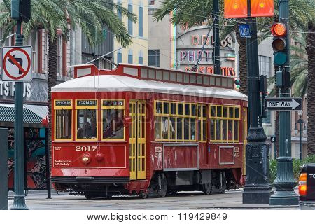New Orleans, La/usa - Circa March 2009: Old Tram On Canal Street In New Orleans,  Louisiana