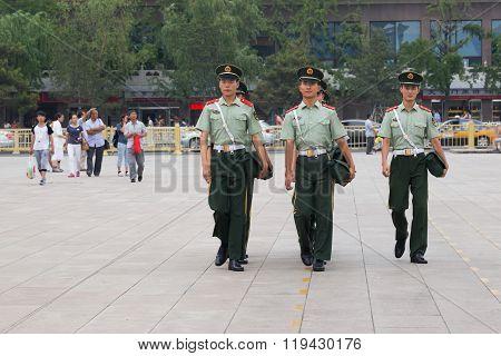 Beijing, China - Circa September 2015: Soldiers Walking At Tiananmen Square, Beijing,  China