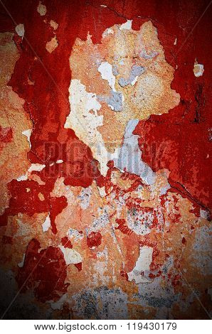 Dramatic Grunge Red Old Wall Surface Background, Texture For Your Design