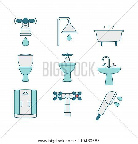 Vector line style icons of sanitary elements