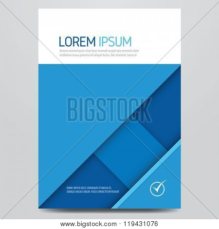 Brochure, annual report, magazine cover, poster, flyer vector template. Material design inspired corporate layout.