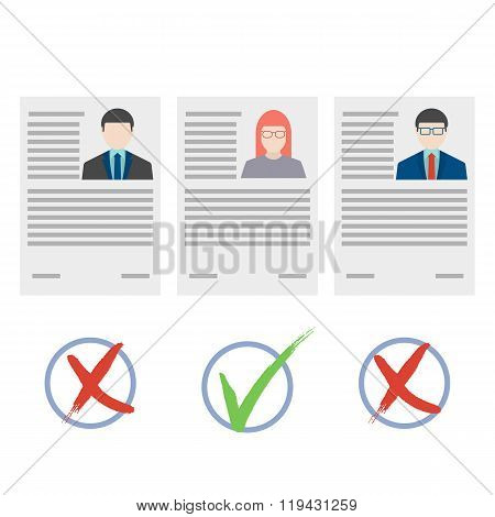 Flat design vector concept for human resource