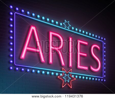 Aries Neon Sign.
