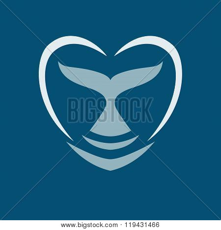 Whale Dolphin Tail Heart Logo Sign Emblem Vector Illustration