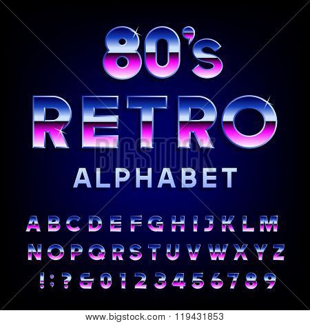 80's retro alphabet vector font