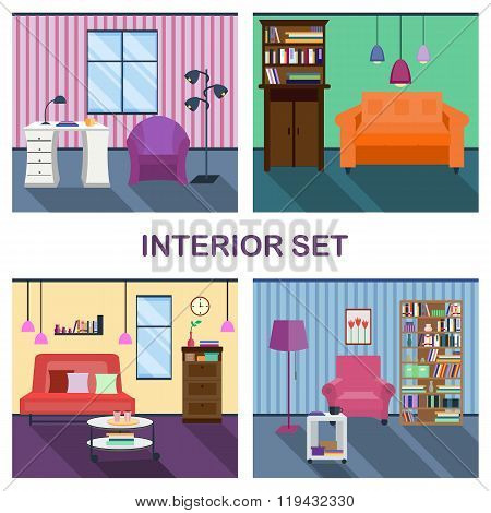 Four interiors of living room