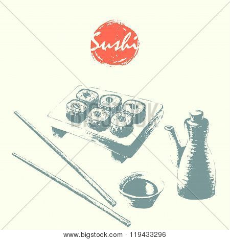Sushi Roll Serving, Soy Sauce And Chopsticks Sketch