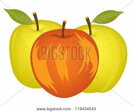 Three apples on white