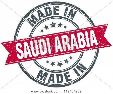 made in Saudi Arabia red round vintage stamp
