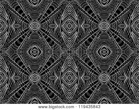 Background Abstract White Black Aztec Tribal Ornament 2