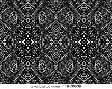 Background Abstract White Black Aztec Tribal Ornament 3
