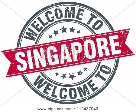 welcome to Singapore red round vintage stamp
