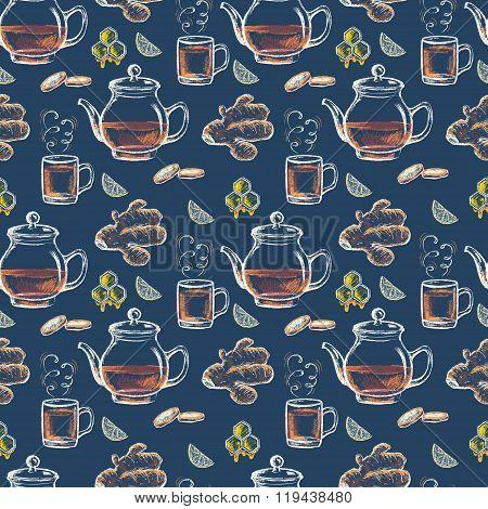 Colored chalk drawn seamless pattern of  tea in teapot, ginger, honey, lemon. Card design. Sugar fr