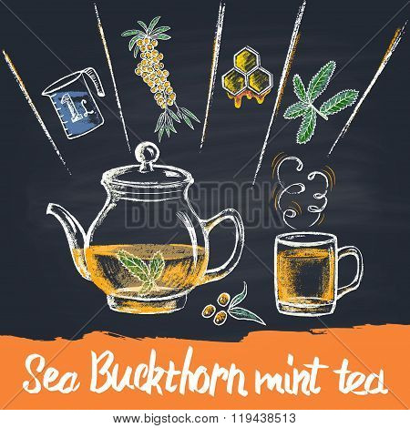 Colored chalk drawn illustration of sea buckthorn mint tea in teapot with ingredients. Hot beverage