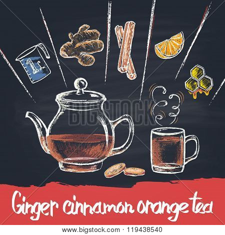Colored chalk drawn illustration of ginger cinnamon  tea  in teapot with ingredients. Hot beverage