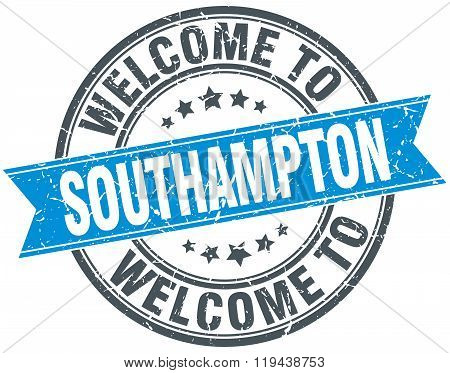 welcome to Southampton blue round vintage stamp